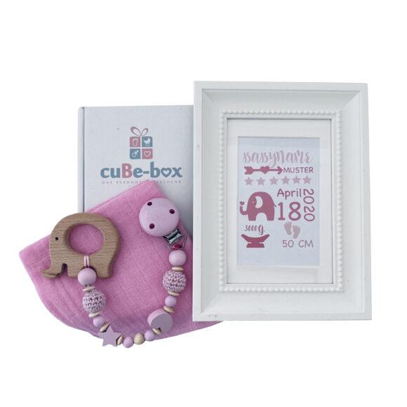Babybox maedchen Geburtsposter elefant rosa Elefant scaled