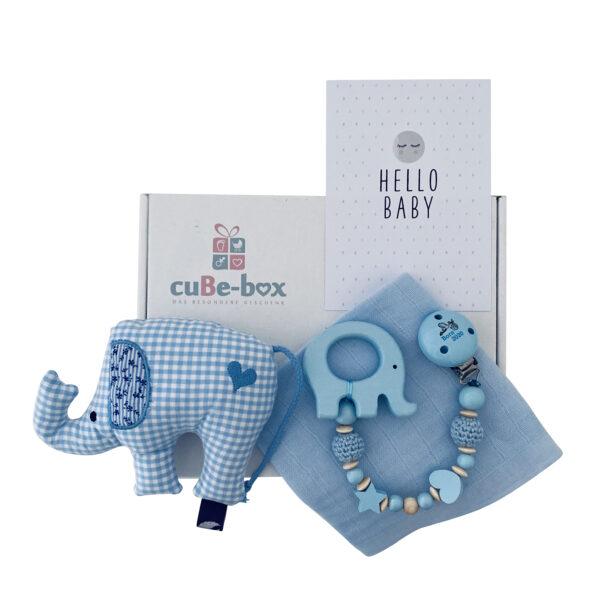 babybox junge elefantenrassel hellblau scaled
