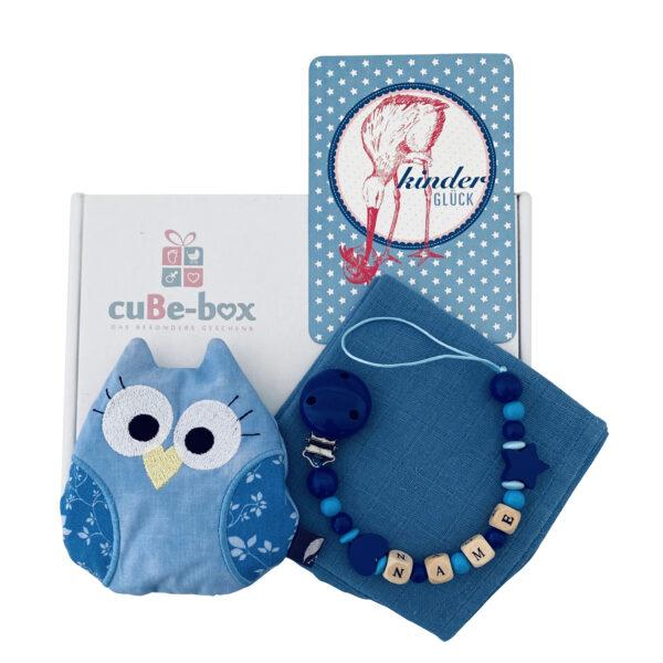babybox jungen eulenwarmekissen jeansblau scaled