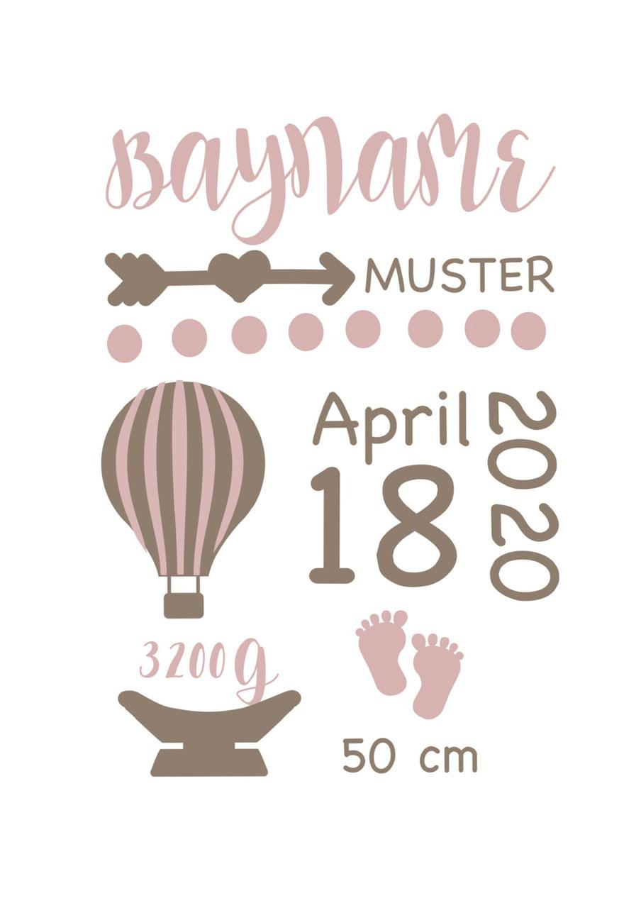cuBe-box Babygeschenke Geburtskarte rosa