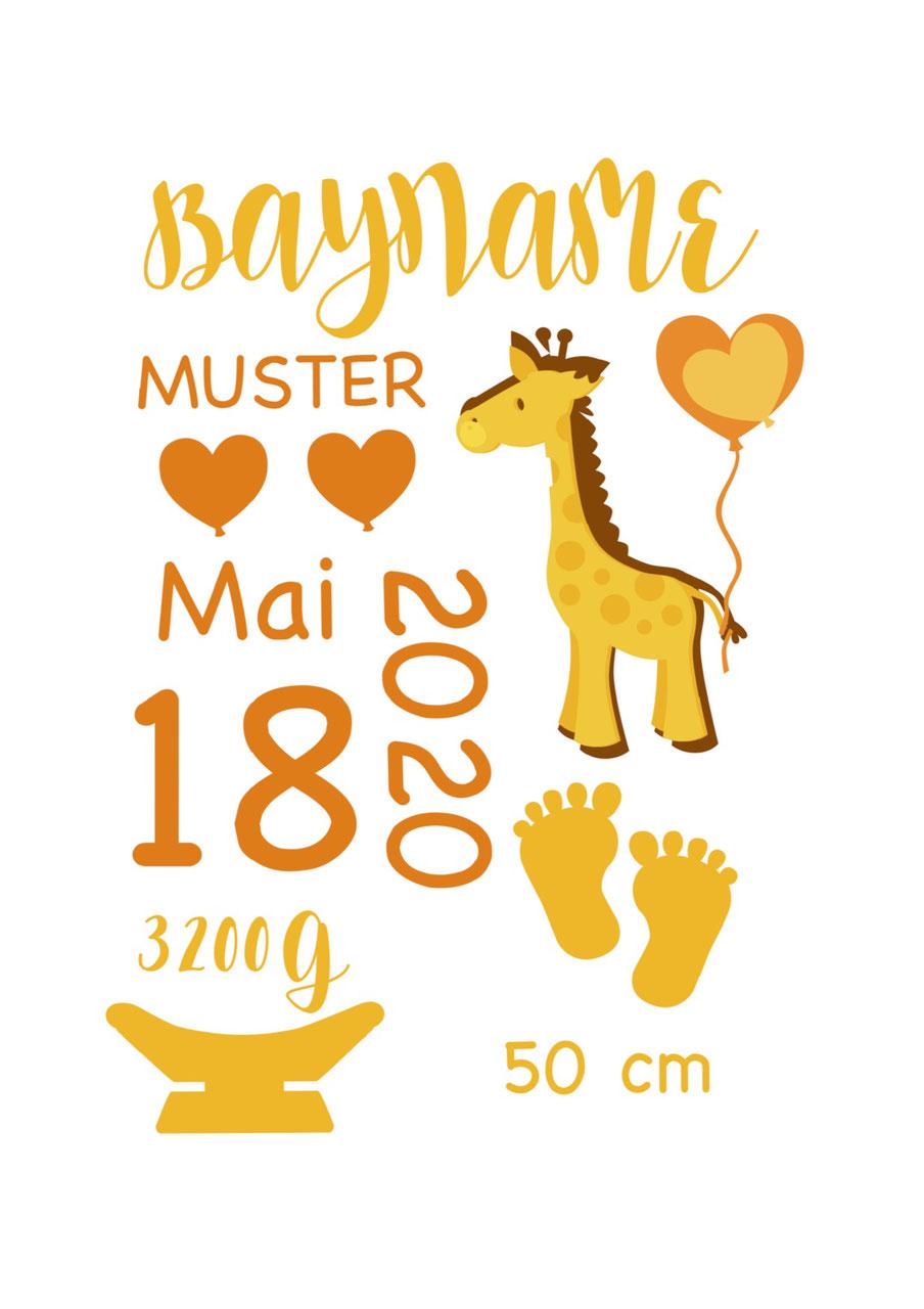 cuBe-box Babygeschenke Geburtskarte orange
