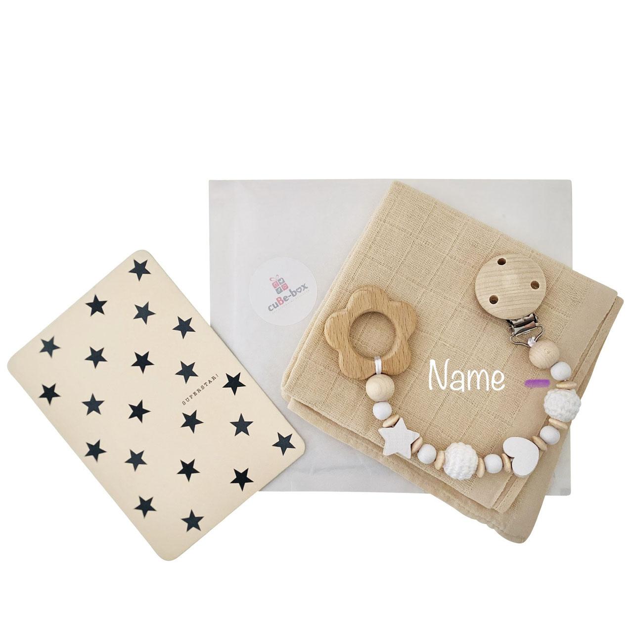 cuBe-box Babygeschenke geschenkset nuscheli beige