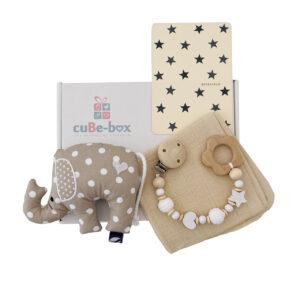 cuBe-box Babygeschenke Babybox Nuscheli Beige elefant