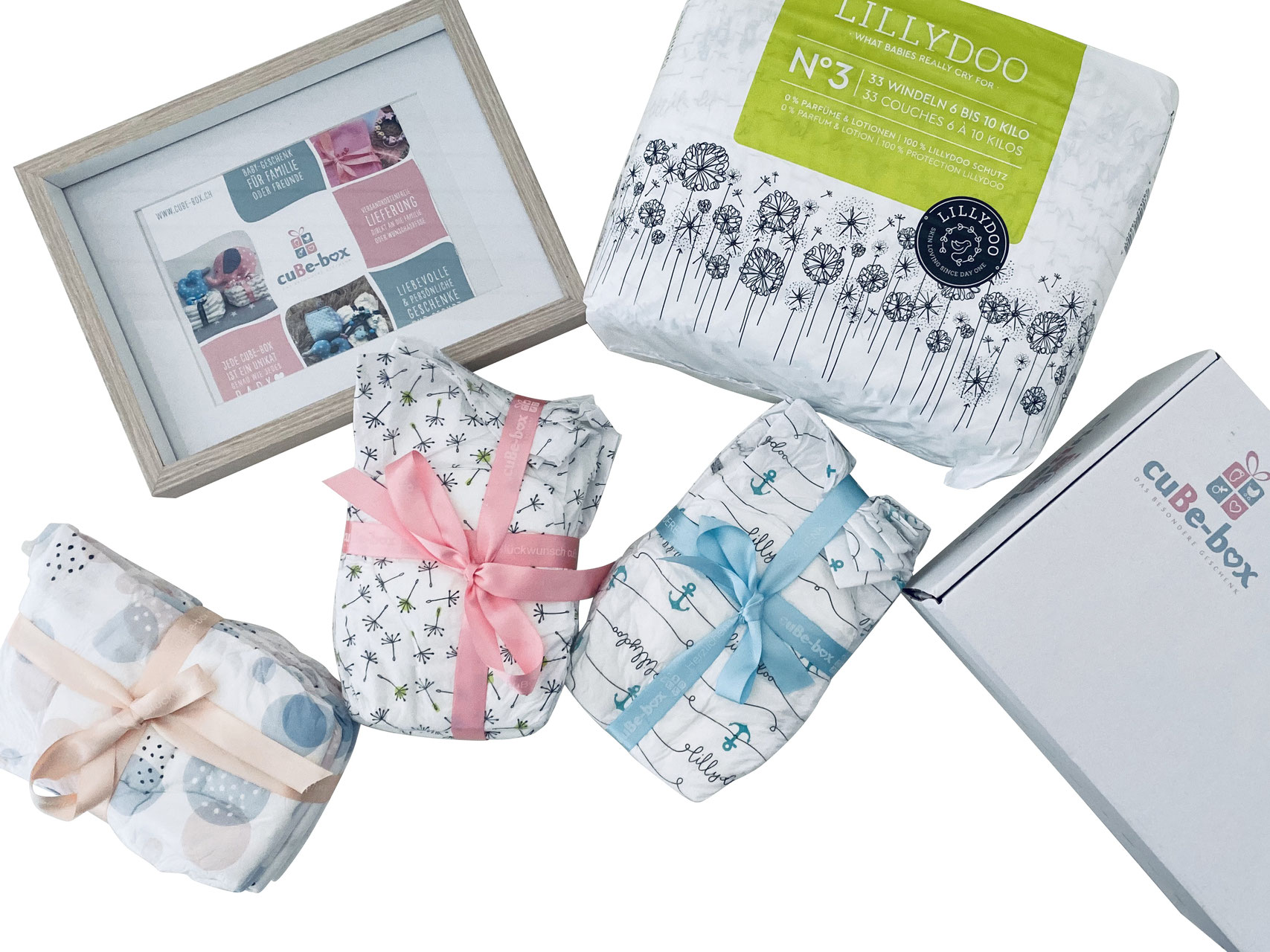 cuBe-box Babygeschenke geschenkset windeln babybox