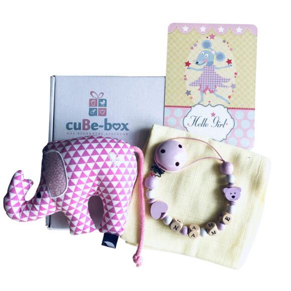 babybox maedchen elefantenrassel rosa